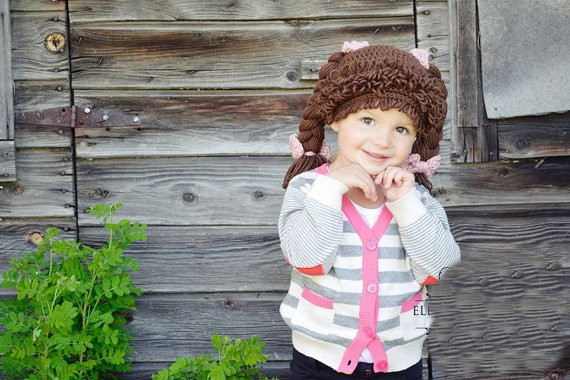 2019 Fashion Crochet Baby Girl Wig Hat,cabbage Patch Hat, Baby Cabbage Patch Wig, Braided Cabbage Patch Hat, Infant Toddler Hat, Photo Prop