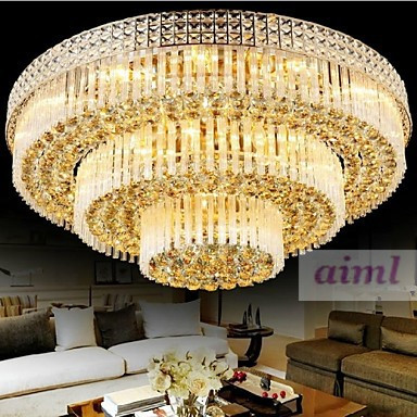 Free Shipping Modern Luxury Chandeliers Crystal LED Living Room Droplight Diameter 100CM Contains Bulbs