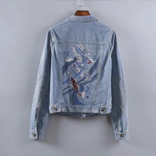 2017 New Arrival Fashion Women Denim Jacket Vintage Dragon