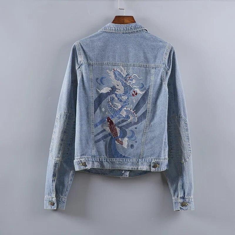 2017 New Arrival Fashion Women Denim   Jacket   Vintage Dragon Embroidery Jeans   Jacket   Women Spring Slim   Basic     Jackets   jaqueta jeans