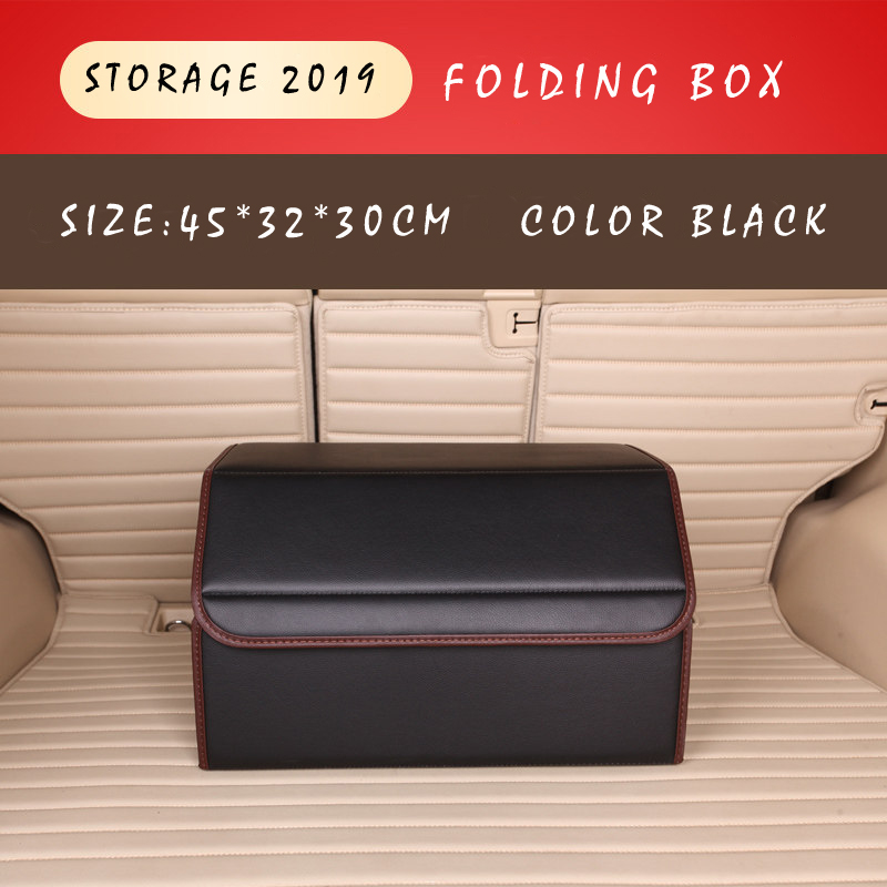 Image 2 - E FOUR Car Stowing Tidying Box Leather Cloth Large Capacity Organizer Storage Bag Folding Car Accessories Holder for Mesh Items-in Stowing Tidying from Automobiles & Motorcycles