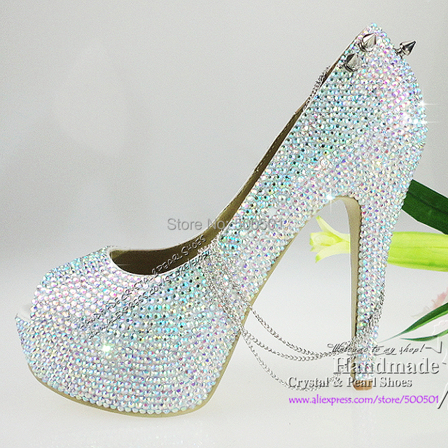 7d20bf403fb Unique Wedding Shoes Rainbow Crystal sexy silver stilettos wedding bridal  shoes silver peep toe high heels