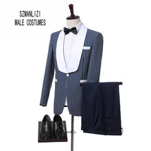 2017 Custom Made Slim Fit White Shawl Lapel Blue Suit Groom Tuxedos Men Suits For Wedding Best Man Blazer (Jacket+Pants+Bow)