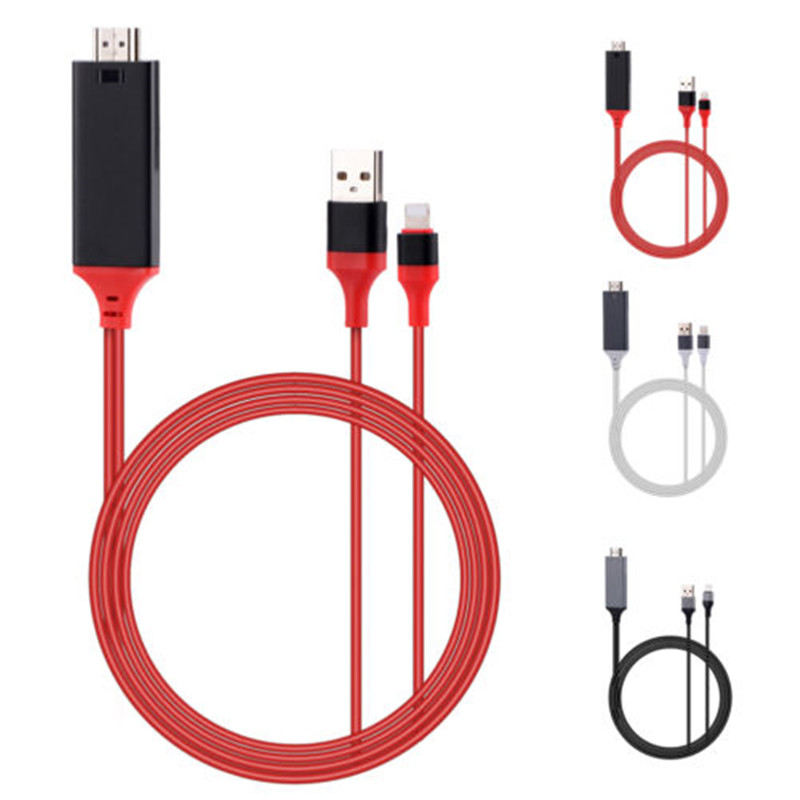 1 Piece 2M USB 8 Pin to HDMI HDTV AV Cable Adapter for iPhone 7 7 Plus 6S 6 Plus 5S 5 Charging Adapter Cable T0.11