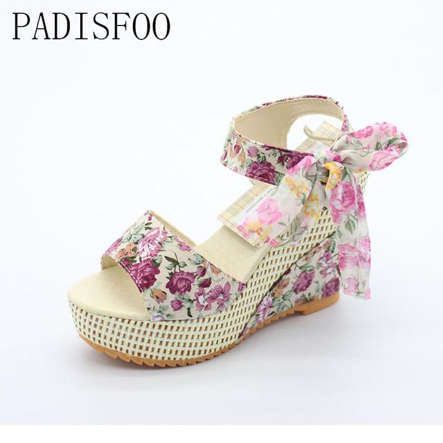 Women Shoes Female Sandals Summer Wedges Women's Sandals Platform Lace Belt Bow Flip Flops Open Toe high-heeled .DDN-915