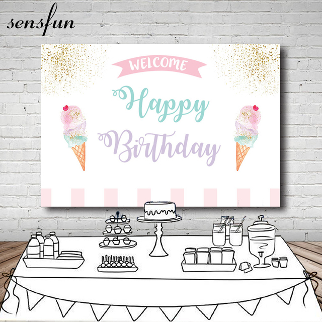 Sensfun Ice Cream Party Photography Backdrop White Pink Gold Glitter Baby Shower Birthday Party Backgrounds For Photo Studio