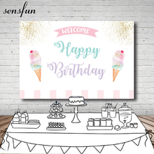 Sensfun Ijs Party Fotografie Achtergrond Wit Roze Goud Glitter Baby Shower Verjaardagsfeestje Achtergronden Voor Fotostudio