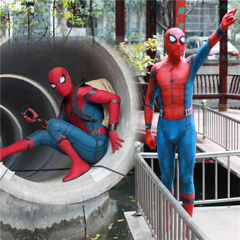 Ainiel Anak-anak Dewasa Spiderman Homecoming Cosplay Kostum Ironman Zentai Suit Spider Man Pahlawan Super Bodysuit Jumpsuit untuk Pria