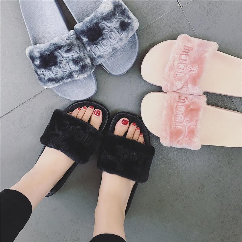 2018 Neue Frauen Sommer Hausschuhe Fenty Pantoffel Rihanna Schuhe Sandalen Flip Flop Plüsch Nette Pelzigen Mule Dame Flip-flop GrÖße 35-40 Stabile Konstruktion