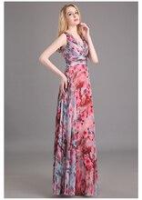 Blumenmuster Blumendruck Chiffon Abendkleid Kleid Partei lange prom Kleider 2016