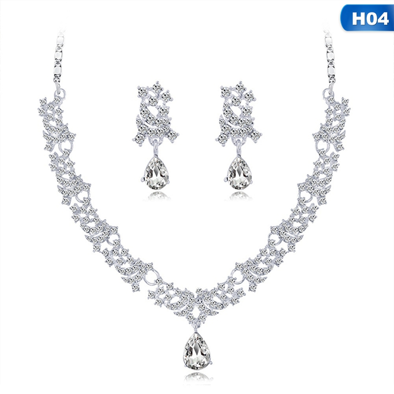 women choker necklaces crystal Women Alloy Rhinestone Glass Necklace Earrings pendants Set Wedding Bride Jewelry