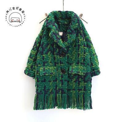 Новая мода 2017 осень зима девушки шерсти и смеси пальто однобортный зеленый дети девочка шерстяное пальто для детей clothing