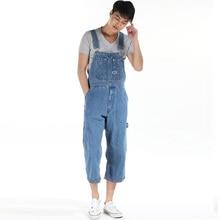 Men's loose plus size overalls male pocket huge large size denim bib pants suspenders capris jumpsuits shorts high quality