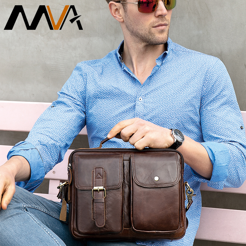 MVA Messenger Bag Men Leather Crossbody Bags for Men Genuine Leather Shoulder Bags Hasp Top-handle Men Bag Vintage Handbag 8114
