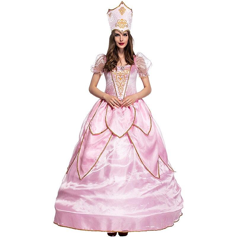 2019 Hot belle élégante de luxe fée marraine Costume adulte Glinda assistant d'oz Halloween fantaisie Cosplay robe