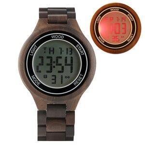 Image 3 - Montres rétro pour hommes, montre bracelet électronique en bois débène, fait à la main, en cuir, boisé Sport, horloge de luxe, LED