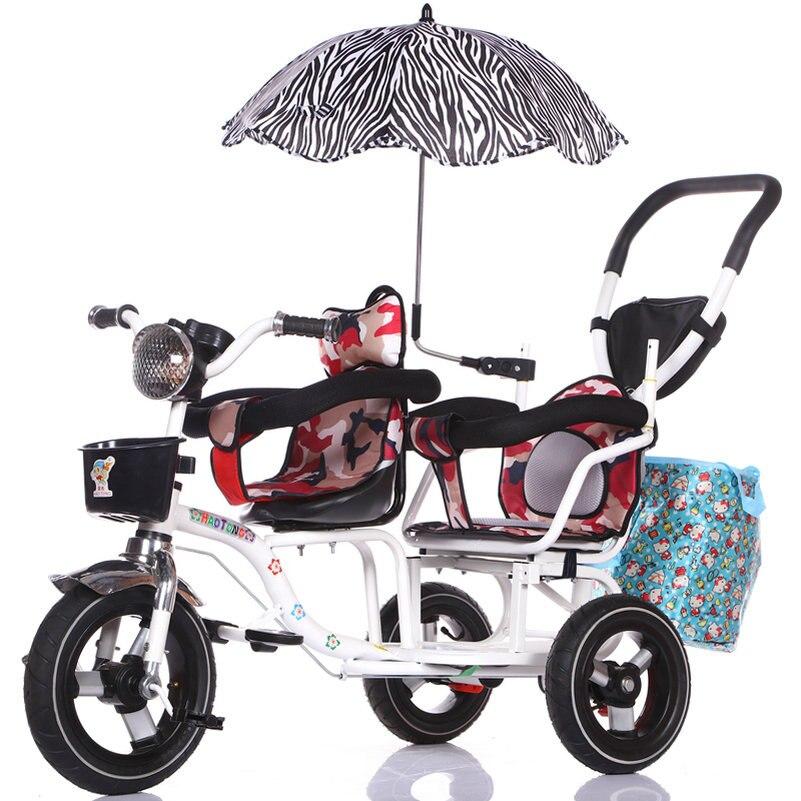 12-дюймовый детский трехколесный велосипед, близнецы велосипед ребёнка выпуска 2 сиденья со складками на педаль тандем трехколесный велосипед с резиновая надувная подушка безопасности для колеса и стальная рама - Цвет: 288