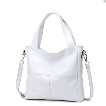 100% Genuine Leather Women Shoulder Bags Ladies Shopping Handbag Female Long Handle Messenger Black White Cowhide Purse Satchel