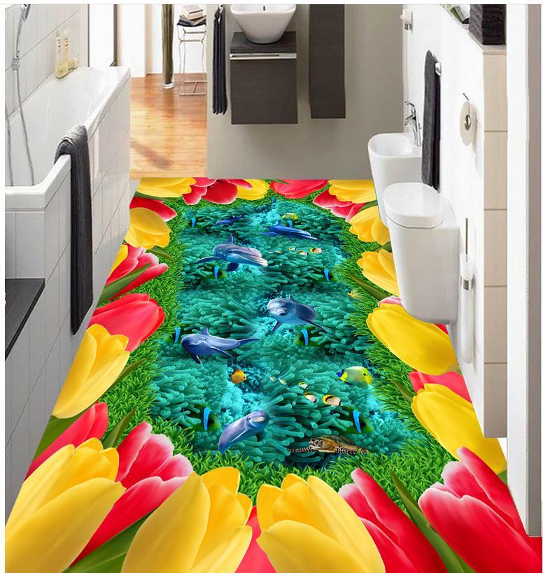 ФОТО 3d flooring Lawn flowers Sea World dolphin fish coral 3D stereoscopic floor pvc floor wallpaper Home Decoration