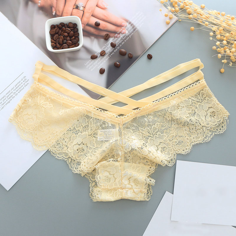 Gumprun 1Pcs Sexy Hollow Women Panties Rose Printing Cross Straps Briefs Transparent Sexy Underwear Women Seamless Panties in women 39 s panties from Underwear amp Sleepwears