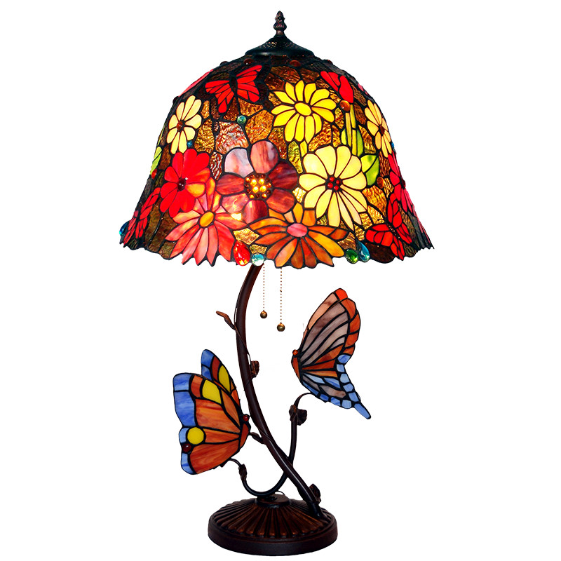 Luxury Large Two Stained Glass Art Deco Plant Flower Office Salon Hotel Desk Table Lamp Light