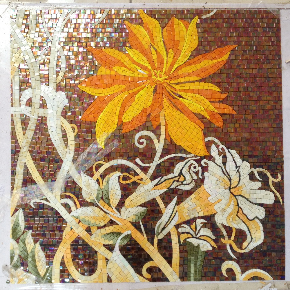 factory sale flowers glass mosaic cutting backsplash