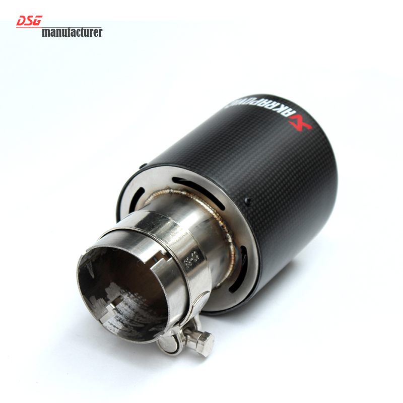 Prix pour 8 taille en fiber de carbone coupe en acier inoxydable échappement de voiture universel pointe de tuyau 63mm 101mm Akrapovic système d'échappement de voiture pour bmw vw
