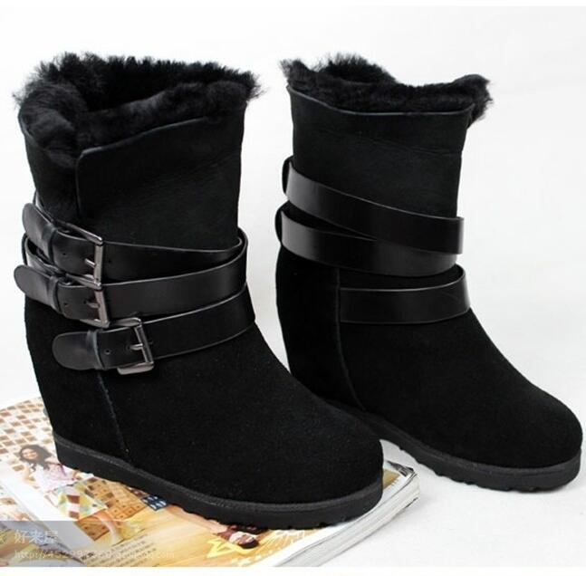 Women Winter Genuine Leather Height Increase Elevator Round Toe Buckle Wool Fashion Mid Calf Snow Boots Size 34-40 SXQ0826 2018 fashion genuine leather metal buckle mixed colors thick heels superstar winter boots round toe women mid calf boots l99