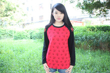 Girls Autumn T-shirt Red Tops Long Sleeve Tees Anime Snapdragon Tees for Sale 2014
