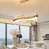 Wave design long crystal chandelier LED lamp modern lighting for living dinning room lustre gold cristal lampadari led light