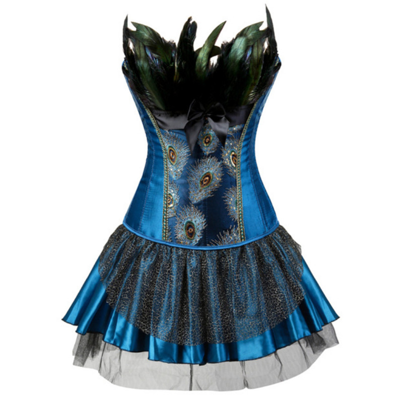 Blue/Black Gothic Burlesque Feathers Peacock Embroidery Overbust Corset Bustier Body Shaper Corselet Halloween Costume Plus Size