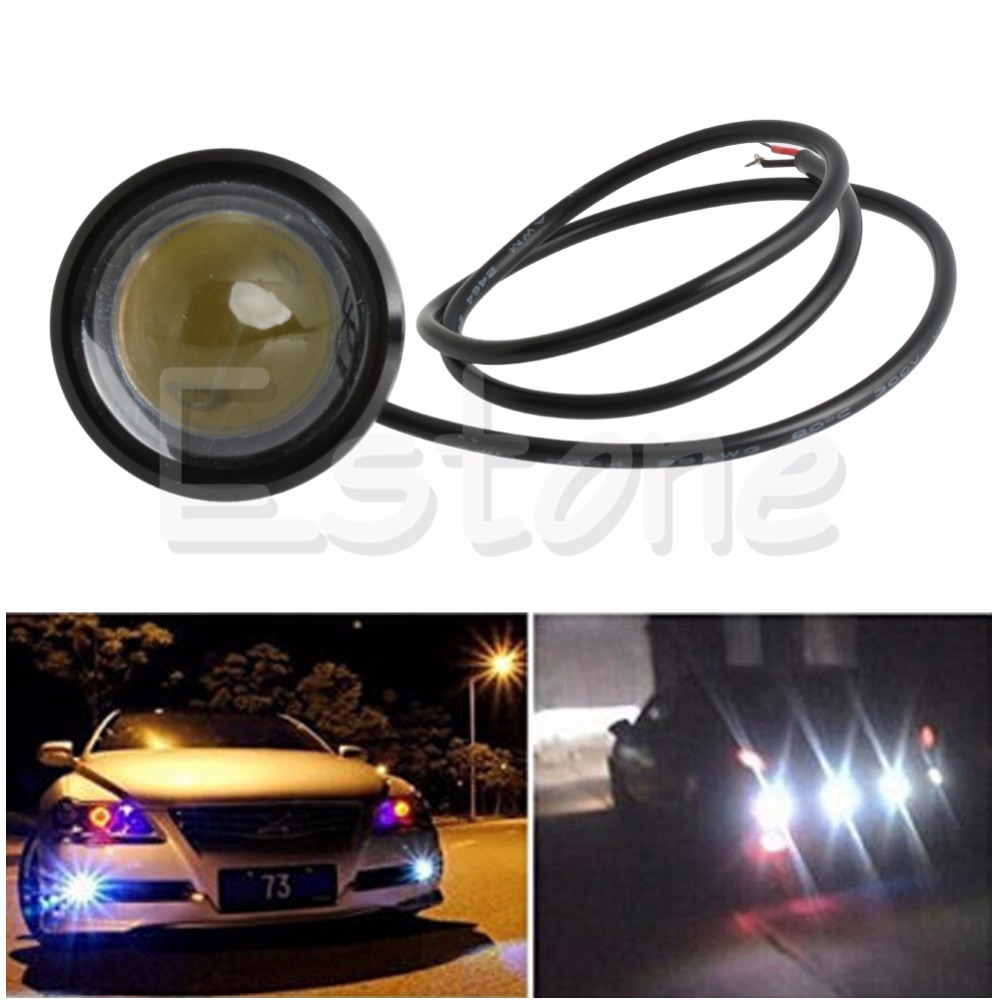 2 X 15W Eagle Eye Lamp LED DRL Fog Daytime Running Car Light Tail Light 6000-6500K C45 1 pair metal shell eagle eye hawkeye 6 led car white drl daytime running light driving fog daylight day safety lamp waterproof
