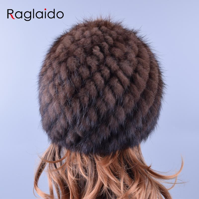 Apparel Accessories ... Hats & Caps ... 32726436747 ... 3 ... Raglaido Knitted Mink Fur Hats for Women Genuine Natural Fur Pineapple Cap Winter Snow Beanie Hats Russian Real Fur Hat LQ11191 ...