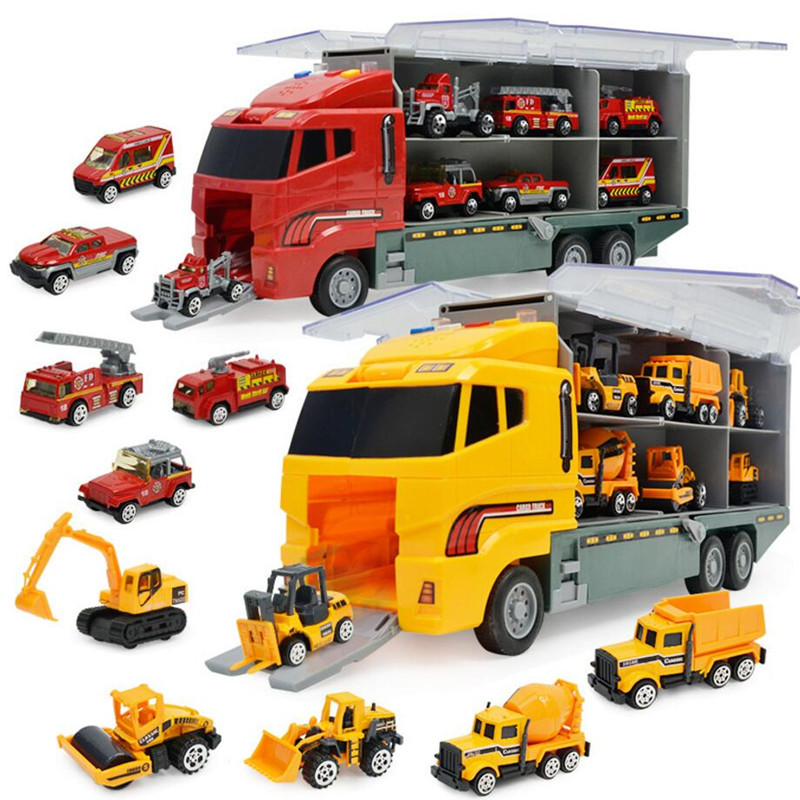 MylitDear 6 in 1 Die-cast Alloy Construction Truck Vehicle Car Toy Set Friction Powered Play Vehicles in Carrier Truck Kids Toys large size alloy die cast model toy tower slewing crane truck vehicle miniature car 1 50 gift for kids