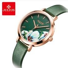 Marca Julius, Reloj clásico de cuero verde para mujer, 3D Retro, flor Multicolor, esfera grande, relojes de pulsera de cuarzo, relojes para regalo para mujer