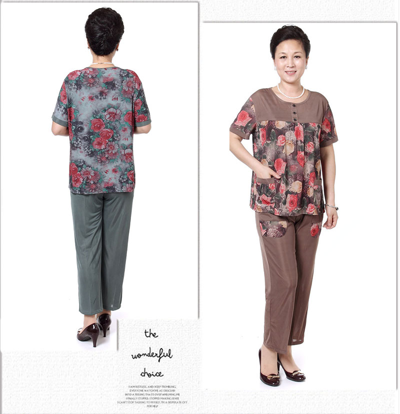 Mother Summer Twinset Red Green Short Sleeve Blouse And Cropped Pant Suit Two Pieces Trouser Suits Sets Woman Casual Ensemble Grandma (6)