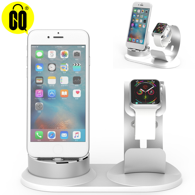 US $45 13 |DIY 3 in 1 desk phone Holder For Apple Watch stand for Airpods  Charge Dock station base for iPhone X 8 mobile support-in Mobile Phone