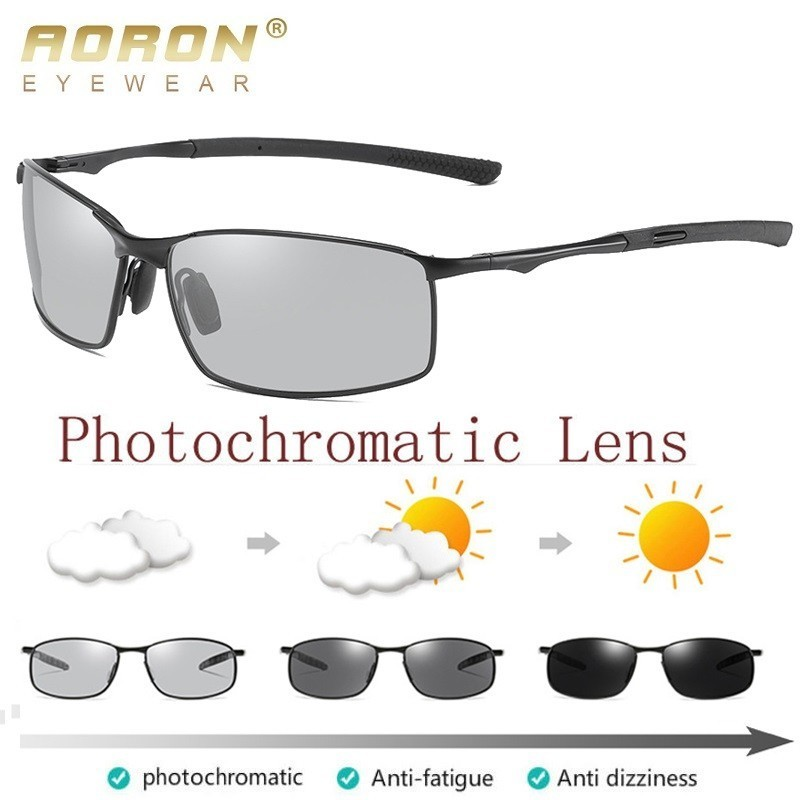 AORON Polarized Photochromic Sunglasses Mens Transition Lens Driving Glasses Male Driver Safty Goggles Oculos Gafas De Sol