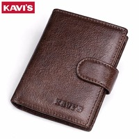 KAVIS 100 Genuine Leather Men Wallets Top Quality Vintage Hasp Design Male Purse Card Holder Wallet