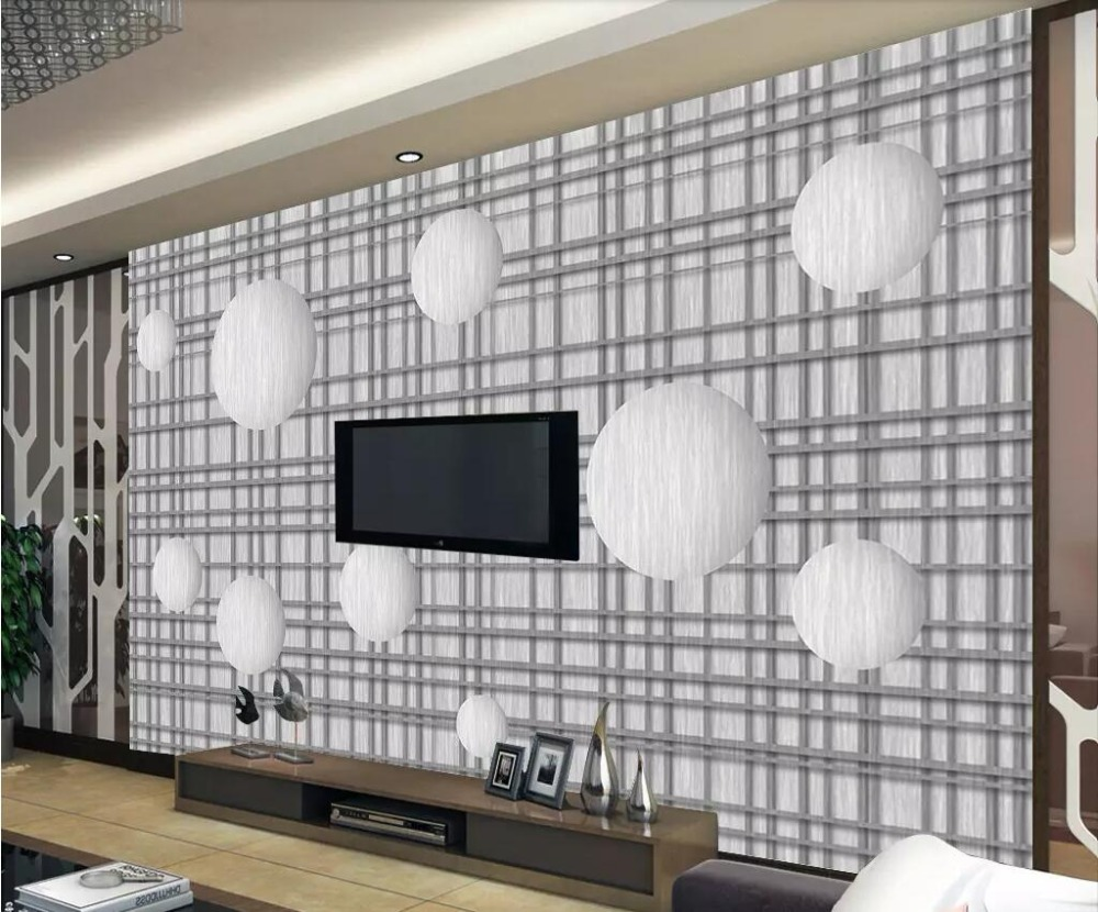 Beibehang 3d Wallpaper Gray Living Room Bedroom Mural 3d Round Ball Lattice Modern Minimalist Tv Background Wall Papel De Parede Be Novel In Design