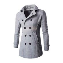 Winter männer lange fashiontrench jacke zweireiher dünner mantel männlichen schwarz grau grau orange oberbekleidung neue