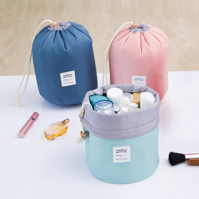 Cosmetic Bags Portable Travel Women Organizer Cylinder Drawstring Bag Makeup Wash Bag Toiletry Bags Travel Accessories mihawk color transparent pvc cosmetic bag korean style markup bags travel multifunctional accessories women s wash accessories