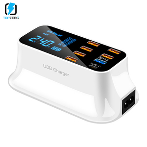 Image 2 - 6 USB + 1 QC3.0 + 1 USB Charger Snellader 3.0 Desktop Led Display Voor Android Iphone Adapter Telefoon tablet Snel Opladen