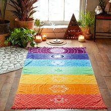 Tapiz de muro bohemio de poliéster, manta de Mandala India colgante de 7 Chakras, tapiz de colores rayas multicolor, toalla para viajes de verano, Yoga y playa