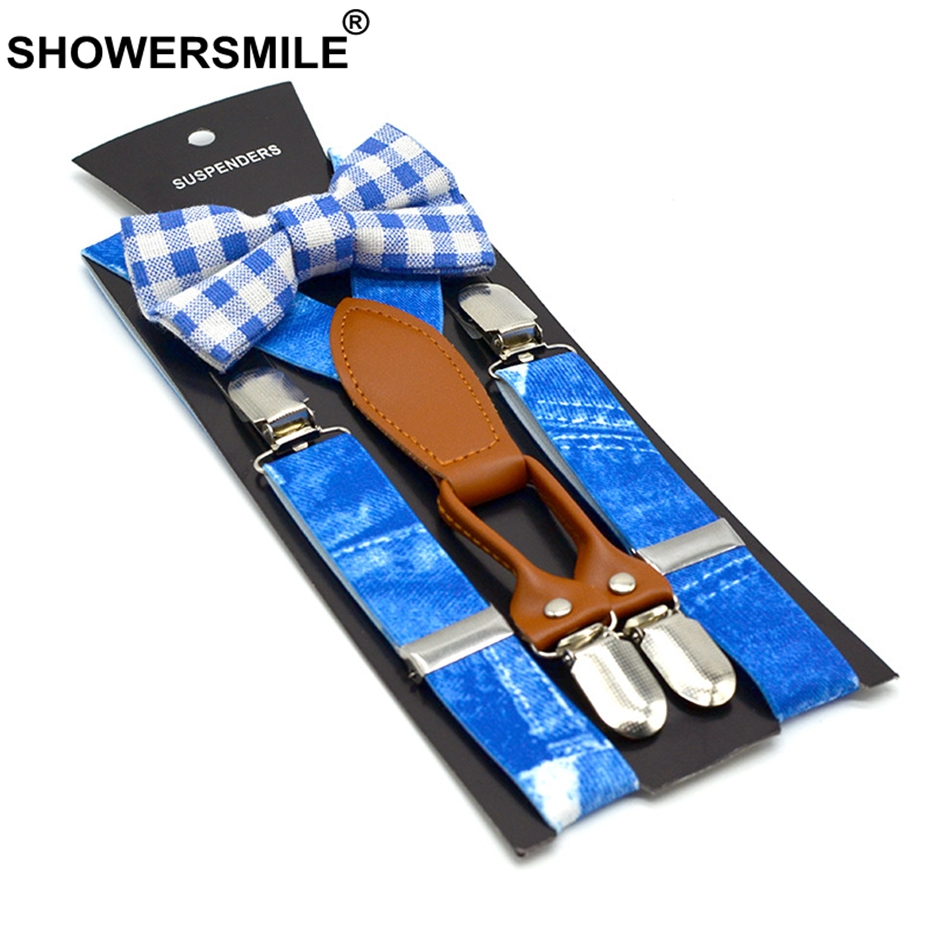 SHOWERSMILE Boys Suspenders Print Denim Blue Braces And Bow Tie Set Children Leather 4 Clips Elastic Adjustable Kid Pants Strap
