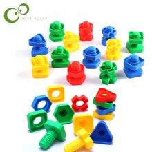 5 шт. винтовые строительные блоки пластиковые вставные блоки в форме гайки игрушки для детей развивающие игрушки модели шкала Монтессори