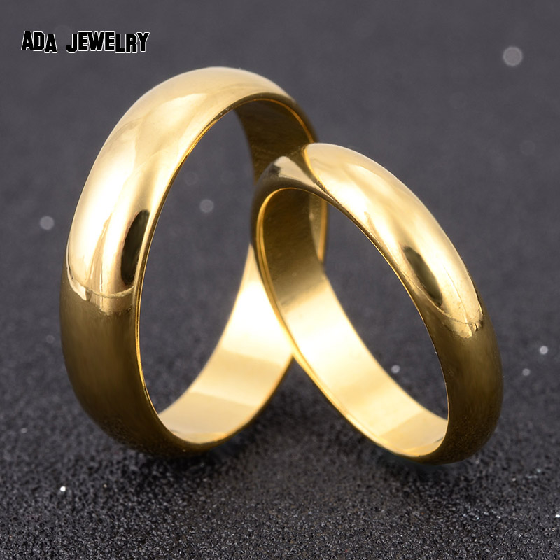 simple engagement wedding couple rings lovers set gold color rings for men women his and her - Simple Wedding Ring Sets