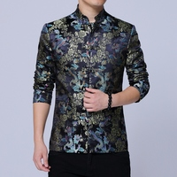 Chinese style flower jacket men fashion casual mens jackets and coats Jacquard fabric