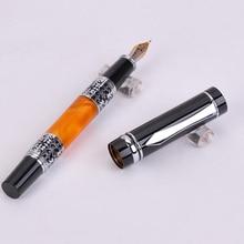цена на BOOKWORM 675 Black-Orange Silver Flower Amber Celluloid Bent Nib Art Fountain Pen School Supplies Calligraphy Pen