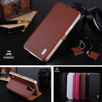 Original FINEDAY Aluminum Metal Frame Genuine Leather Protective Flip Magnetic Cover Case For Samsung Galaxy S5